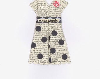 """Origami Paper Dress, """"Make Magic"""",  French dictionary pages"""