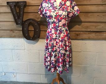 Vintage 1980s Summer Dress Floral Size 12
