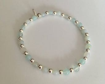 Sterling Silver and Light Aqua Striped Agate bead stretch stack bracelet