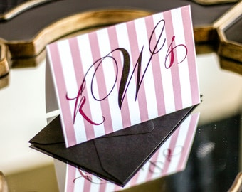 "Pink and Black, Custom Striped Stationery, Personalized Monogram Note Cards - ""Sweeping Script"" Folded Personalized Stationery - DEPOSIT"