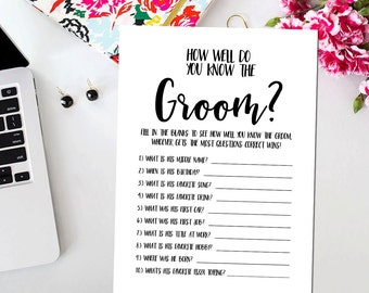 How Well Do You Know The Groom Printable Card, Printable Black White Bridal Shower Game Who Knows the Groom Best Game BR15