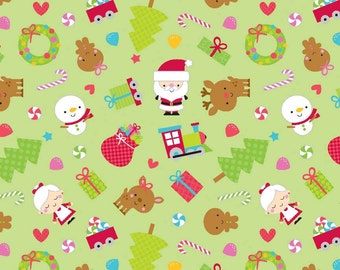 Riley Blake Fabric Santa Express Main Green - 1 Yard
