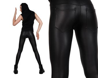 Meggings, Mens Leggings w. Jeans Back in Matte Black, Festival Clothes Men, Burning Man Men, Rocker Leggings, Glam Rock, LENA QUIST