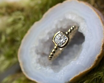 Cushion Cut Engagement Ring   Low Profile Cushion Cut Solitaire   5mm Forever One Moissanite Ring   14k 18k White, Yellow, Rose Gold