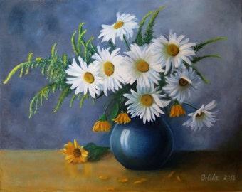 Oil painting - digital file - flower painting - Daisies oil painting - Daisies - Bouquet - Daisies painting - Digital print - print your own
