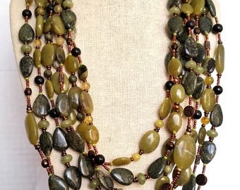 EXTRALONG WRAPAROUND NECKLACE. Natural Jade & Serpentine Flat Oval Beads with Bronze, Copper. 15 Feet Long! Olive Green Stone Necklace
