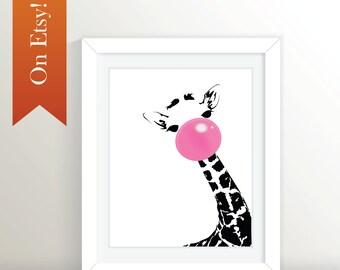 Bubblegum Giraffe Print 8x10, 16x20, 20x30, 24x36: Giraffe, Giraffe Print, Black and White Giraffe, Pink Giraffe