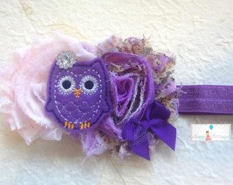 Baby Headband / Purple Floral Owl Girls headband /  Purple Owl Girls headband / Baby Headbands / Baby Photo Props, infant headband