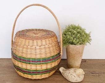 vintage woven  lidded wicker basket tall top handle boho chic