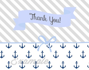 Thank You Card Boy Baby Shower Nautical Navy Anchors Stripes Printable Instant Download