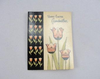 Vintage Easter Card Grandmother Grandma Gibson brand Tulips