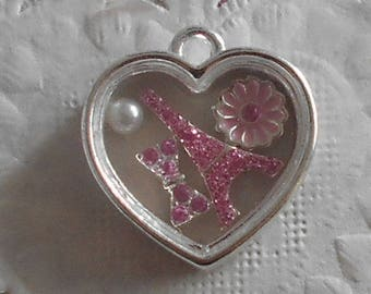 Charm heart in silver with Eiffel Tower, bow, flower and Pearl resin 2.00 cm tall