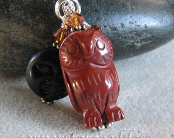 Jasper Midnight Barn Owl Charm/Zipper Pull from Cornerstoregoddess EHAG