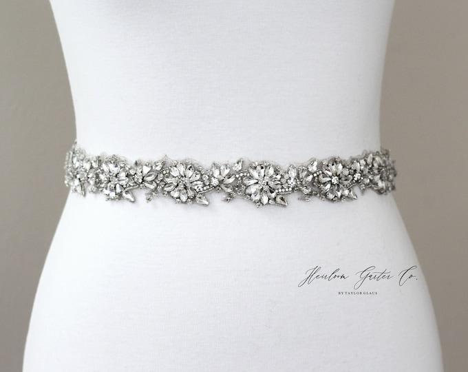 Bridal Belt, Floral Rhinestone Bridal Sash, Beaded Bridal Sash, Wedding Belt, Wedding Sash Rhinestone Sash B59S