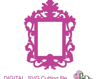 SVG DXF Frame Vintage Oval Photo Cutting Template Instal Download Dies Silhouette Cameo EasyCutPrintPD Black