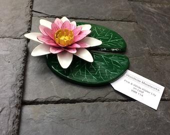 Pink water lily, steel lotus flower on a leaf, water lily, pink and white pond lily, painted lotus flower, lotus lily