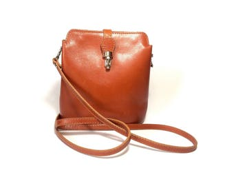 Crossbody bag, Genuine leather bag, Messenger bag, Vera Pelle Italian bag, Vintage leather crossbody bag, Brown leather bag