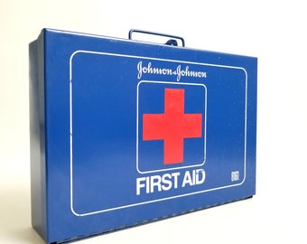 Vintage 1970s Johnson & Johnson First Aid Kit / Box, Blue Metal Medical Emergency Kit (Empty), Great Retro Condition, Industrial Style Decor