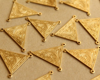 2 pc. Raw Brass Art Nouveau Triangle 3-hole Connectors: 24mm by 26mm - made in USA | RB-658