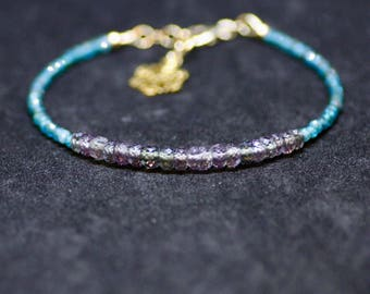 Color Change Alexandrite and Moss Apatite Bracelet 14K Yellow Gold Filled , June Birthstones , 55th Anniversary , healing Gem , From Canada
