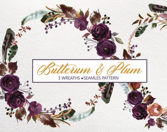 Boho Bordo Purple Plum Watercolor Floral Wreaths Clipart Burgundy Purple Violet Flowers Backdrop Pattern Wedding Clipart PNG Wine Colors