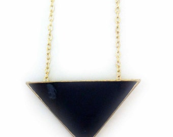 SALE Necklace handmade vintage with fashion triangle in gold and black
