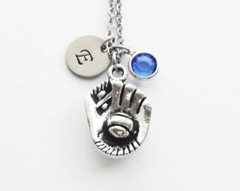 Baseball Necklace, Baseball Glove, Mitt, Ball, Sports Jewelry Swarovski Birthstone, Silver Initial Personalized Monogram Hand Stamped Letter