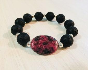 Black Coral & Rhodonite Bracelet