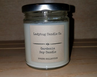 Summer Candle, Summer Scented Candle, Soy Candle, Gardenia Soy Candle, Jar Soy Candle, 8 oz