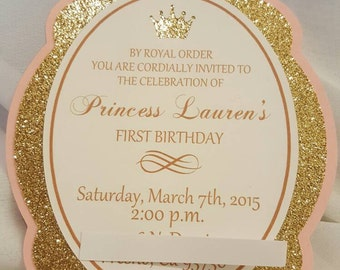 Pink and Gold Princess Frame Invitations