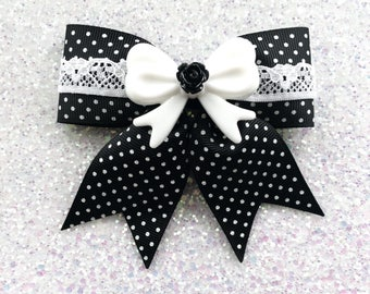 Pinup Rosie Lace Dream Hair Bow - Black with White Lace - Swiss Dots - Retro - Pinup - 50s