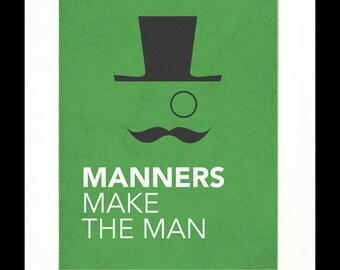 """Children's Art Print Poster, Nursery Art, Children's Room, Proverbs, Idioms, """"Manners Make the Man"""", Mustache Art, 11x14 Print"""