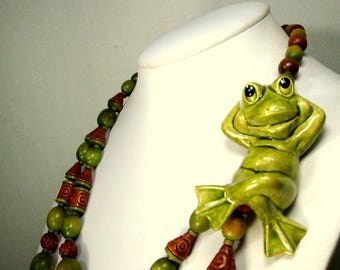 Frog Ceramic Focal on Green & Brown Organic Wood Bead Necklace, OOAK BY Rachelle Starr, Recycled Ecochic