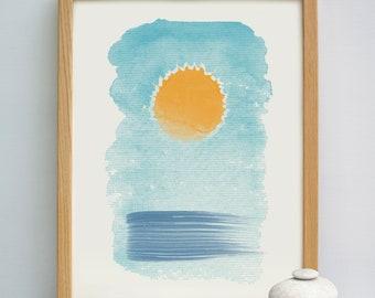 Out At Sea Abstract Print | Abstract Sea Print | Coastal Art Print | Watercolour Abstract Sea Print | Watercolor Abstract Ocean Print