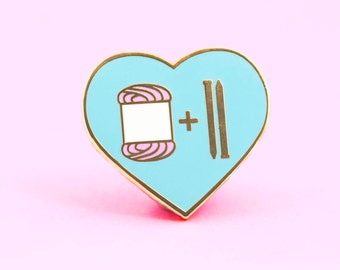 Knitting Pin, cute enamel pin knit yarn