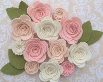 Handmade Wool Felt Flowers,  Ivory, pink skin and beige skin