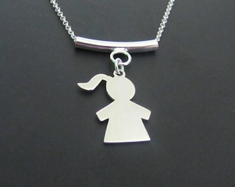 Girl Silhouette Necklace, Sterling Silver Necklace, Charm Necklace, Jewelry, Gift for her