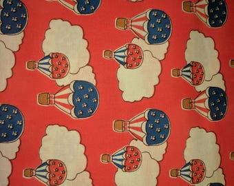 Storybook Hot Air Balloons Red by Windham Fabrics.