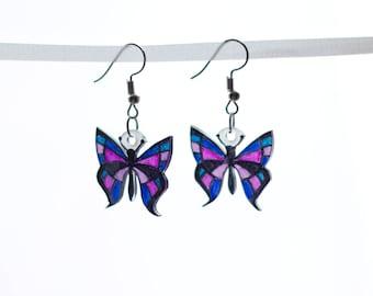 Stained Glass Butterfly Earrings