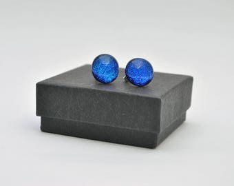 Bright blue dichroic stud earrings