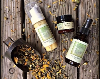 Clear Skin Set. All Natural Face Wash + Toner + Scrub/Mask. Tea Tree, Castille, Witch Hazel, Bentonite Clay, Org Chamomile & Oats Acne Care