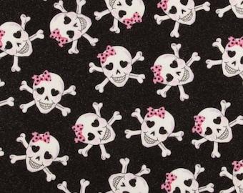 Skulls Glitter Glam Fabric, Black Sparkle Fabric, Pink Bow Skulls, Quilt Fabric,Crafting Fabric