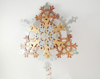 Large 9.5-inch Ornate Steampunk Tree Topper - Snowflake Gears, Brass, Antique Brass, and Silver