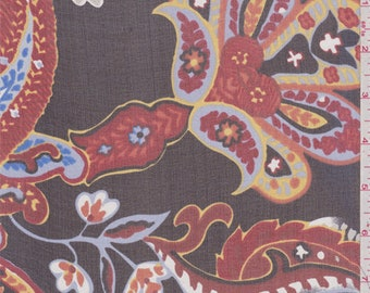 Black Paisley Silk Chiffon, Fabric By The Yard
