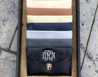 PERSONALIZED CLUTCH BAG - Envelope Clutch - Leather Clutch - Bridesmaid Clutch - Wedding Clutch - Monogrammed Clutch Bag - Clutch Purse