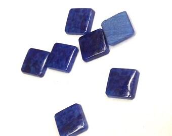 20 Pieces Glass Blue Lapis, Cobalt Marble Vintage Square Stones 6mm