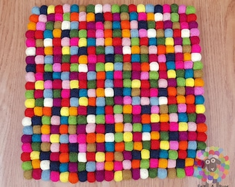 Multicolor Square Felt Ball Chair Mat Set of 4 pcs. Size 40 cm x 40 cm. 100 % Wool . Handmade in Nepal