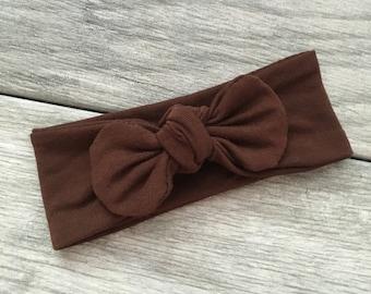 Brown Knotted Headband // Baby Knot Headband // Baby Girl Headwrap // Cute Baby Headwrap // Top Knot Headband // Tie Knot Headband // Fall