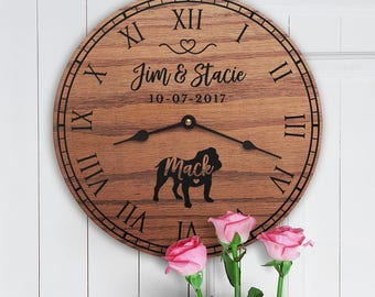 Gift for the Home of Couple with Bulldog - Personalized Bulldog Gift - Bulldog Dog Parents - Custom Names Dog Owners - Bulldog Lovers