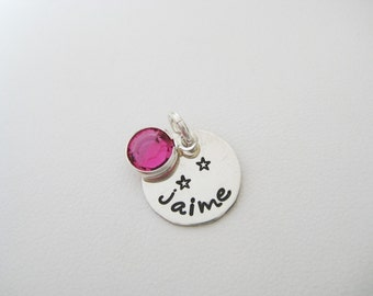 Personalized Silver Charm - Hand Stamped Jewelry - Small Sterling Silver Charm 1/2 inch